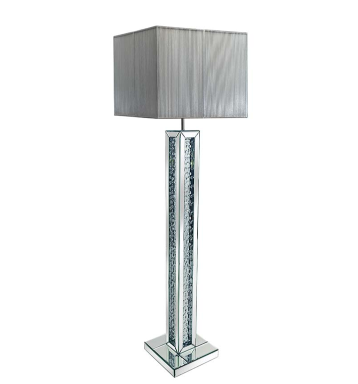 Floating Crystal Mirrored Floor Lamp Shade - Dals Interiors