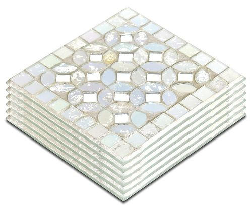 Mosaic Glass Coasters White ( Set of 6)