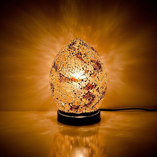 Autumn Gold Mini Mosaic Egg Lamp