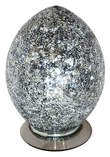 Medium Mosaic Glass Egg Lamp-Black
