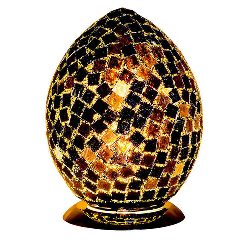 Medium Mosaic Glass Egg Lamp-Black Tile