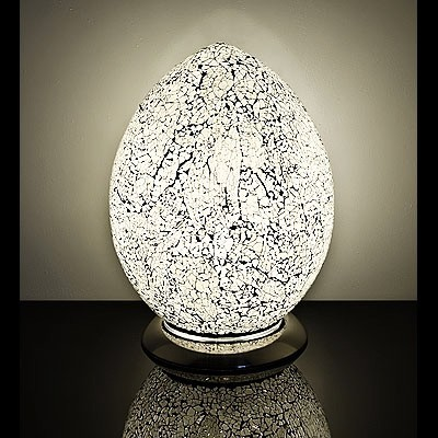 Medium Mosaic Glass Egg Lamp-White