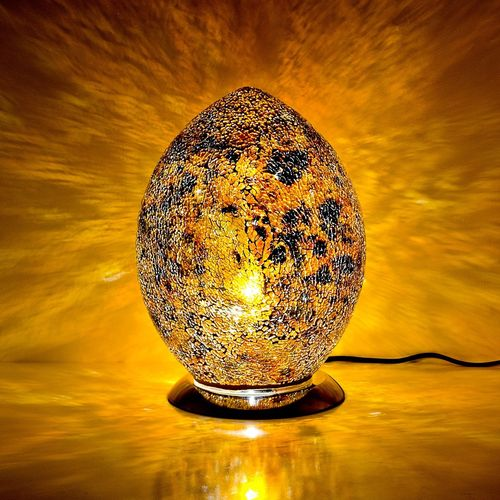 Medium Mosaic Glass Egg Lamp-Yellow