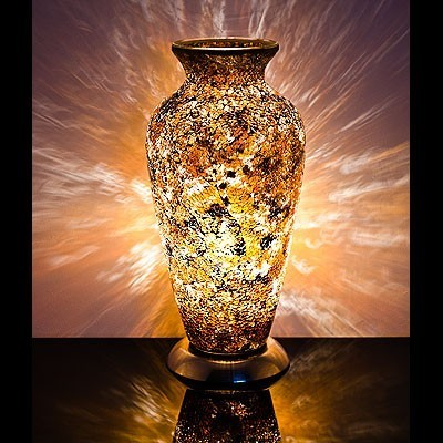 Mosaic Glass Vase Lamp- Yellow