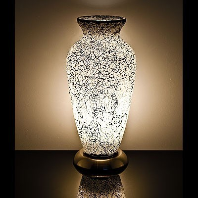 Mosaic Glass Vase Lamp- White