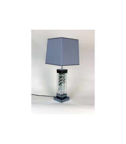Mirrored Crystal Decor Table Lamp with grey shade