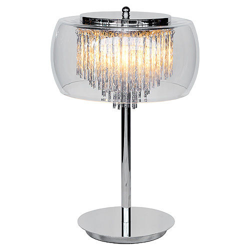 Elegant Silver Chrome Crystal Vegas Table Lamp