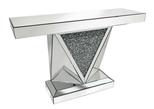 Rhombus Crystal clusters Mirrored V Console Table