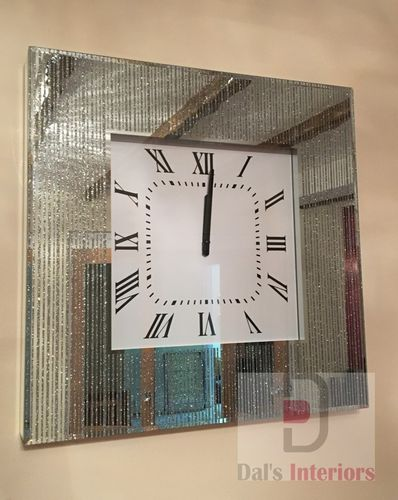 Shimmer lined Glass Wall Clock