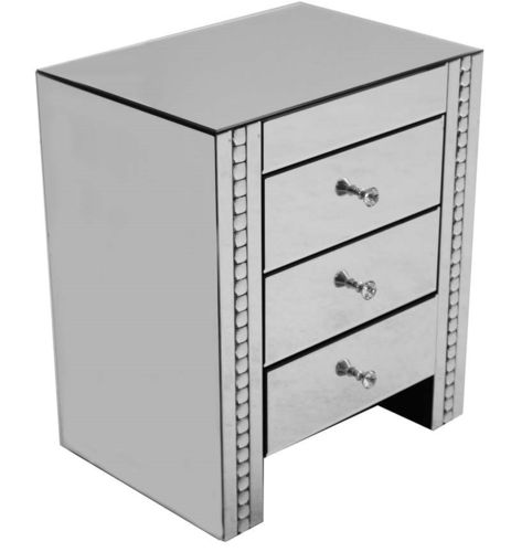 Mirrored Crystal 3 Drawer Bedside Table